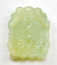 Vintage Chinese Jade Natural Stone Hand Carved Pendant Bead - Double Fish Coin