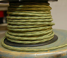 Green/Yellow Cloth Covered 3-Wire Overbraid Cord 18ga. Vintage Electrical Cable