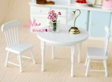 1/12 Dollhouse Miniature Wood Dinning White Dinner Table Chairs 3PCS