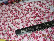 """PINK FLORAL PRINT COTTON BLEND FABRIC 40"""" wide by the half yard"""