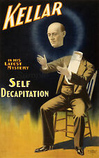 VINTAGE 1897 Kellar Self decapitazione Magic a3 Poster Stampa
