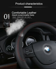 38CM Anti-slip PU Leather Steering Wheel Cover For Car SUV Black +Red Universal