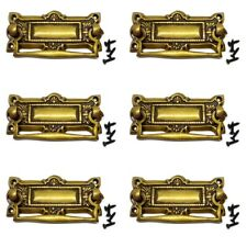 6 cabinet handles brass furniture vintage age old style 100mm heavy watson A7