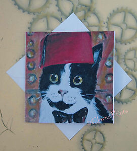Cat Doctor Who Kitty Blank Art Card from Original Acrylic Painting Art Dr Who