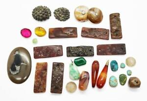 Antique MIXED LOT OF VARIOUS GEMSTONES & AGATES Including CHINESE & ISLAMIC