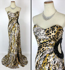 NWT Jovani Long Strapless Animal Print Gown Prom Formal $480 Cruise Size 6 Dress