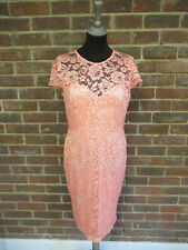 Jane Norman Ladies Peach Scallop Lace Cap Sleeve Dress Size UK 14 RRP £59 BNWT