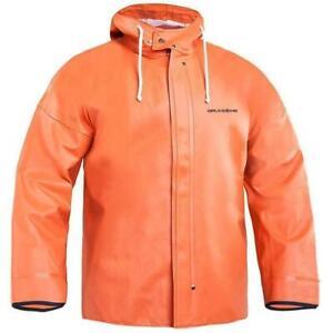 Grundens Brigg 40 Hooded Commercial Fishing Jacket Parka Rain Gear Orange