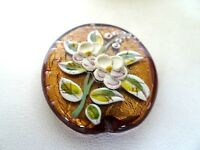 Murano Lampwork Glass Beads Gold Foil Bronze With Raised Flower Design