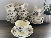 19 PC Set Williamsburg Wedgwood Potpourri Floral Motif Cups & Saucer & Creamer