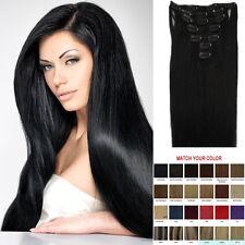 EXTENSIONS DE CHEVEUX A CLIPS 100% NATURELS REMY HAIR 38-55CM Femme Soirée Noir