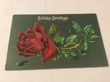 Vintage Paper Ephemera, Postcard, Birthday Greetings, Embossed