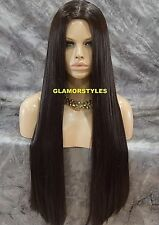 Very Long Straight Dark Brown Full Wig With Hair Part Hair Piece #4 NWT