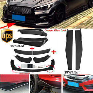 Carbon Fiber Look Side Skirt+Front Bumper Spoiler+Rear Lip For Infiniti Q50 Q60