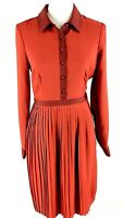Modcloth Fit And Flare Shirt Dress Size S Small Red Pleated Collar Long Sleeve