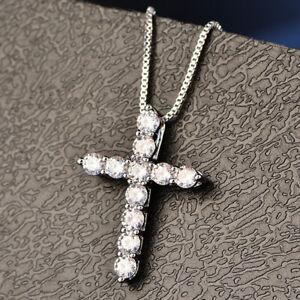 Elegant Women'S Silver Crystal Rhinestone Cross Pendant Necklace Jewelry Gift