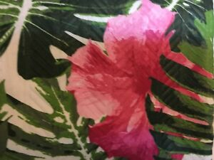 TROPICAL GREEN LEAVES PINK HIBISCUS FLOWERS  TEXTURED FABRIC SHOWER CURTAIN