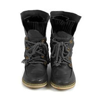 LADIES WOMENS COMBAT ARMY MILITARY BIKER FLAT LACE UP WORKER ANKLE BOOTS UK2-8