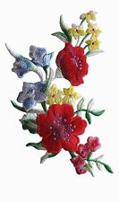 """#5066 5-1/4"""" Blue,Yellow,Red Wild Flower Embroidery Iron On Applique Patch-Left"""