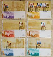 ISRAEL 2004 OTTMAN CLOCK TOWERS, NICE  SET OF BOOKLET ON 6 FDC, #n38