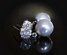 Runde Modeschmuck-Ohrschmuck im Ohrstecker-Stil aus Sterlingsilber mit Perlen (Imitation)