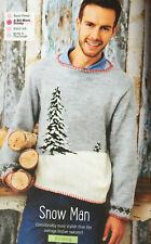 KNITTING PATTERN Mens Christmas Tree + Snow Jumper Diamond Cuff Sweater Sirdar