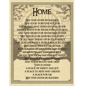 """Home Blessing Poster 8.5 x 11"""" Parchment Print Housewarming House Prayer NEW"""