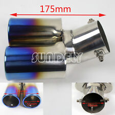 "2 1/2"" Car Stainless Steel Chrome Round EXHAUST Tail Muffler Tip Pipe Rainbow"