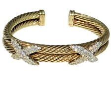 David Yurman 14K Two-Tone Gold 2ctw Diamond Double Cable X Bangle Bracelet 6.25""