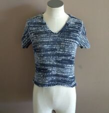 Eileen Fisher Women's PP Chunky Short Sleeve V-Neck Sweater Blue Cotton S4PAC