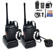 2x Baofeng Walkie talkie de largo alcance y 2 vías de radio uhf Auricular 400-470MHZ 16CH Reino Unido
