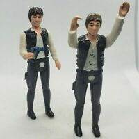Vintage 1977 Star Wars Han Solo Small Head AND Big Head Kenner Figure w/ Blaster