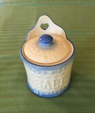 Vintage Hanging Salt Box /Jar Farmhouse Decor- w/cover-blue and white-Rare