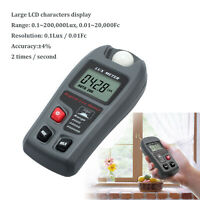 0.1- 200,000 High Accuracy Digital Light Meter Luxmeter Lux/FC Luminometer