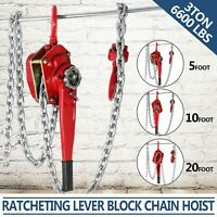 Chain Lever Hoist Come Along Ratchet Lift 3.0 Ton Capacity $0 SHIP 5',10',20' FT