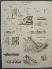 1820 de huella de antigua ~ Hidráulica Sifón Resortes Jeringa Archimedes De Tornillo