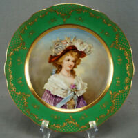 Dresden Hand Painted 18th Century Lady Green Raised Beaded Gold Portrait Plate B