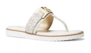 NIb Size 8 Michael Kors Briar MK Thong Slide Sandals MK Logo Vanilla