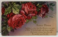 Embossed Roses Sunny Hours Poem posted Pa 1910 Ferrell Idaho Postcard B19