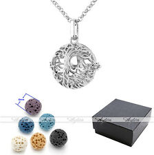 Lava Beads Essential Oil Diffuser Silvery Pendant Ball Hollow Locket Necklace