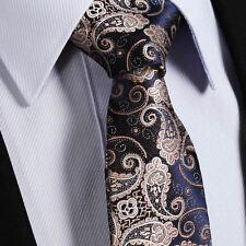 New Mens Tie - Gold Brown & Navy Blue Wedding Paisley Silk - Floral Gift Necktie