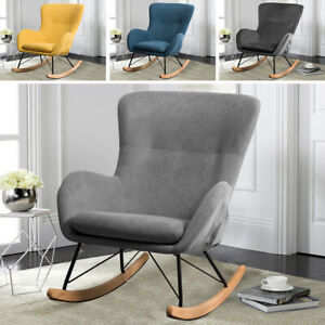 Recliner Rocking Chair Wing Back Armchair Velvet Fabric Upholstered Relax Sofa