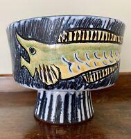"Mid Century Modern Italian (?) Art Pottery Pedestal Vase Bowl SIGNED 6""w 4.6""h"