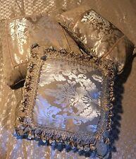 """3 Cotton Throw Pillows Cushion Home Decorative 17""""x10"""", 16""""x16 + 16""""x16"""" Beige"""