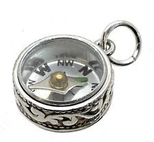 VINTAGE SILVER SCROLL COMPASS FOB CHARM