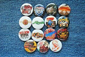 "Hair Metal Rock Band Buttons Pins 80s  Music 1"" Badge Ratt Motley Crue pinback"