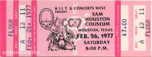 1 1977 QUEEN VINTAGE UNUSED FULL CONCERT TICKET HOUSTON TEXAS laminated repro pk