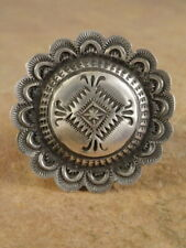 Old Style Navajo Sterling Silver Stamped Concho Ring sz. 7 1/2
