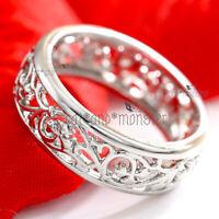 18K WHITE GOLD GF SILVER CELTIC FILIGREE COMFORT BAND ETERNITY WEDDING RING GIFT