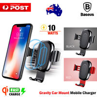 Baseus Qi Wireless Air Vent Charger Car Mount Holder iPhone X XS Max XR 7 8 Plus